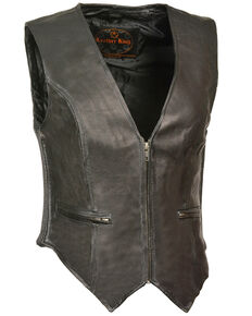 Milwaukee Leather Women's Zipper Front Side Stretch Vest - 5X, Black, hi-res