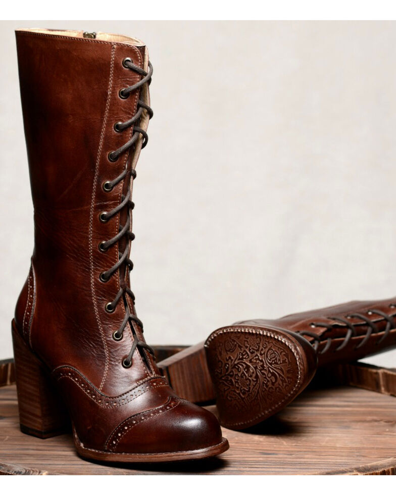 Oak Tree Farm Ariana Teak Brown Boots - Round Toe, Dark Brown, hi-res
