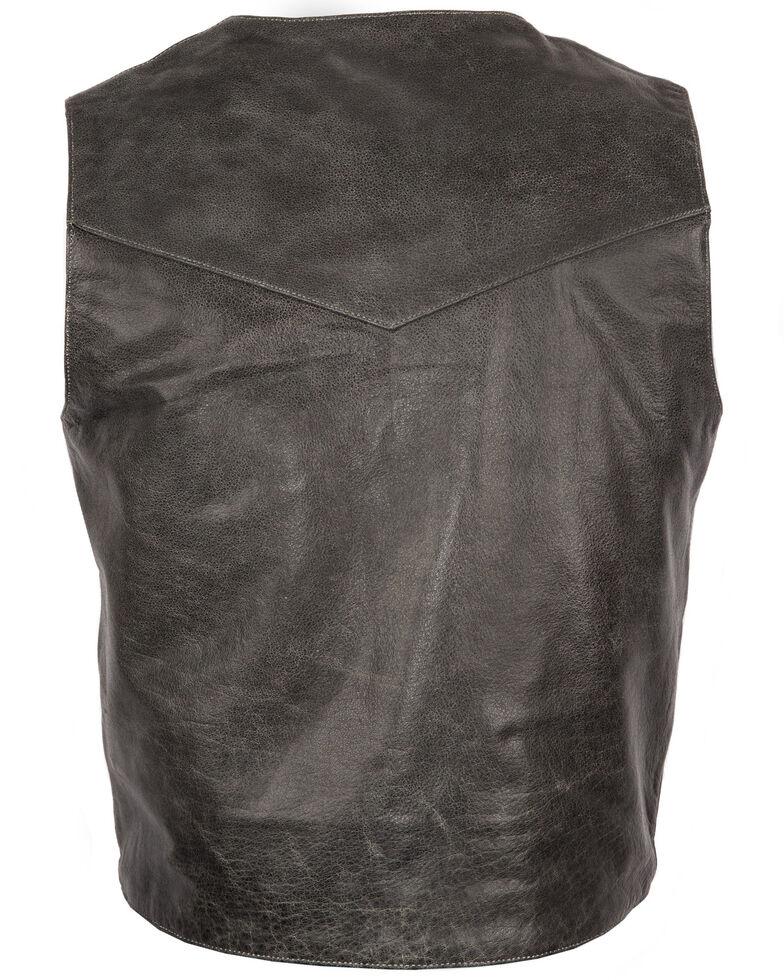 STS Ranchwear Men's Black Antique Smoke Chisum Leather Vest - Big , Black, hi-res