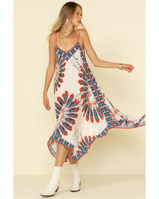 Flying Tomato Women's Americana Tie Dye Slip Dress, Red/white/blue, hi-res