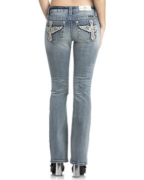 Miss Me Women's Studded Wing Cross Boot Cut Jeans, Indigo, hi-res