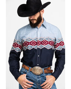 Roper Men's Aztec Border Print Long Sleeve Western Shirt , Grey, hi-res