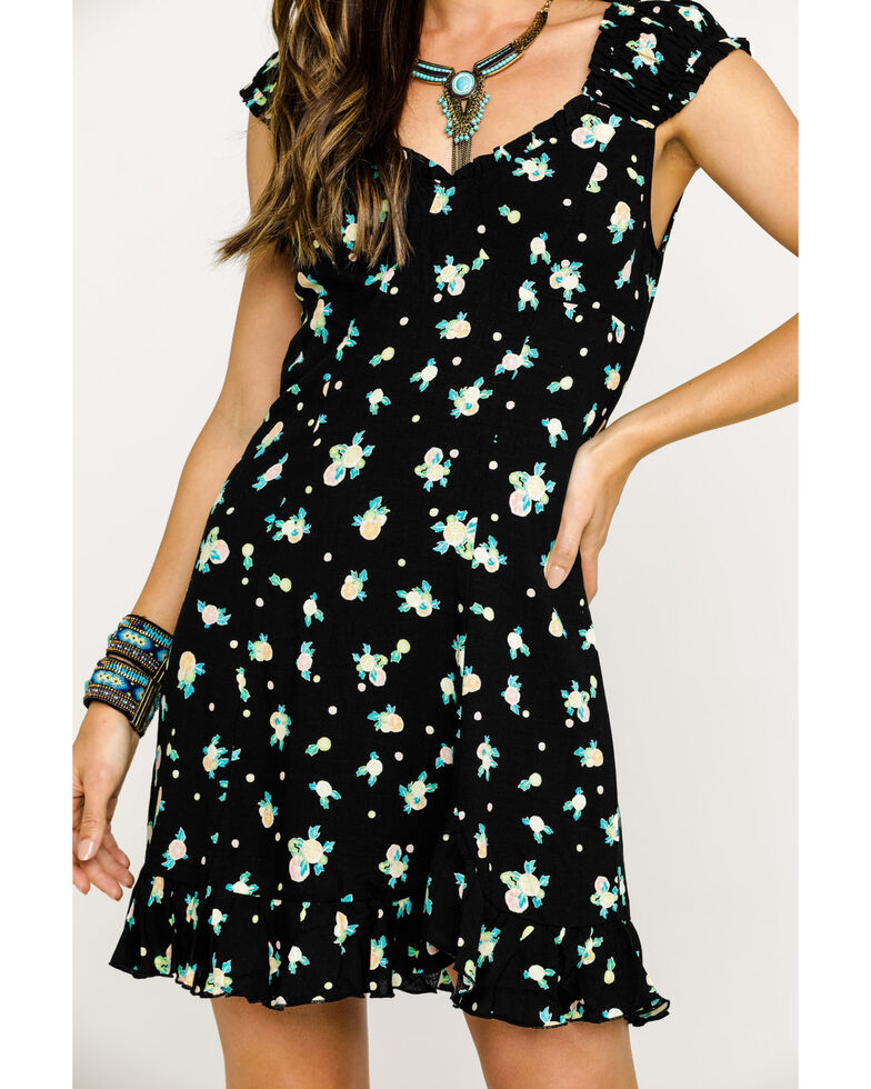 Free People Women's Like A Lady Printed Mini Dress, Black, hi-res