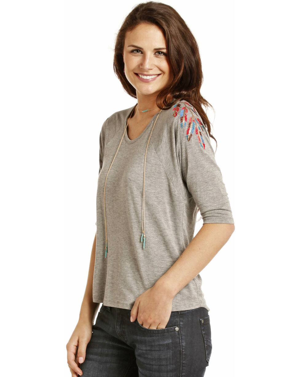 Rock & Roll Cowgirl Women's Feather Embroidery Dolman Top, Grey, hi-res