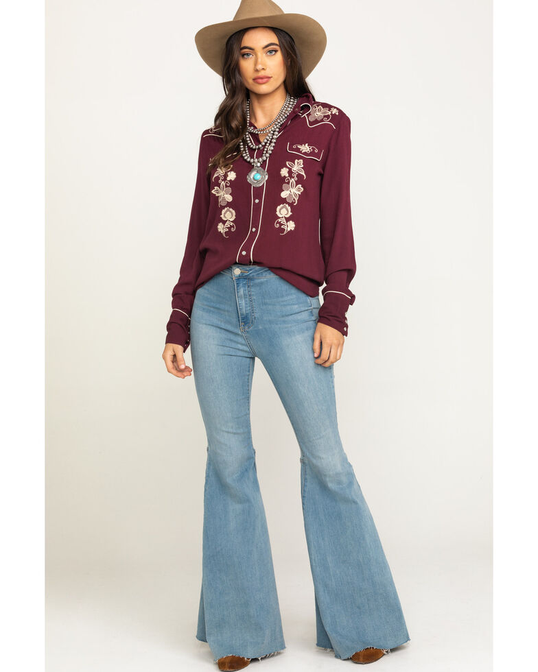 Stetson Women's Wine Floral Embroidered Long Sleeve Western Shirt , Wine, hi-res