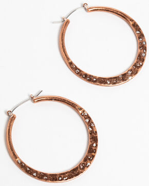 Shyanne Women's Wanderlust Copper Hammered Hoop Earrings, Tan/copper, hi-res