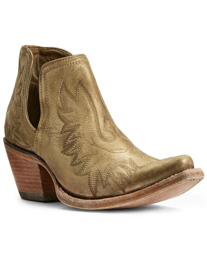 Ariat Women's Dixon Distressed Gold Western Booties - Snip Toe, Gold, hi-res