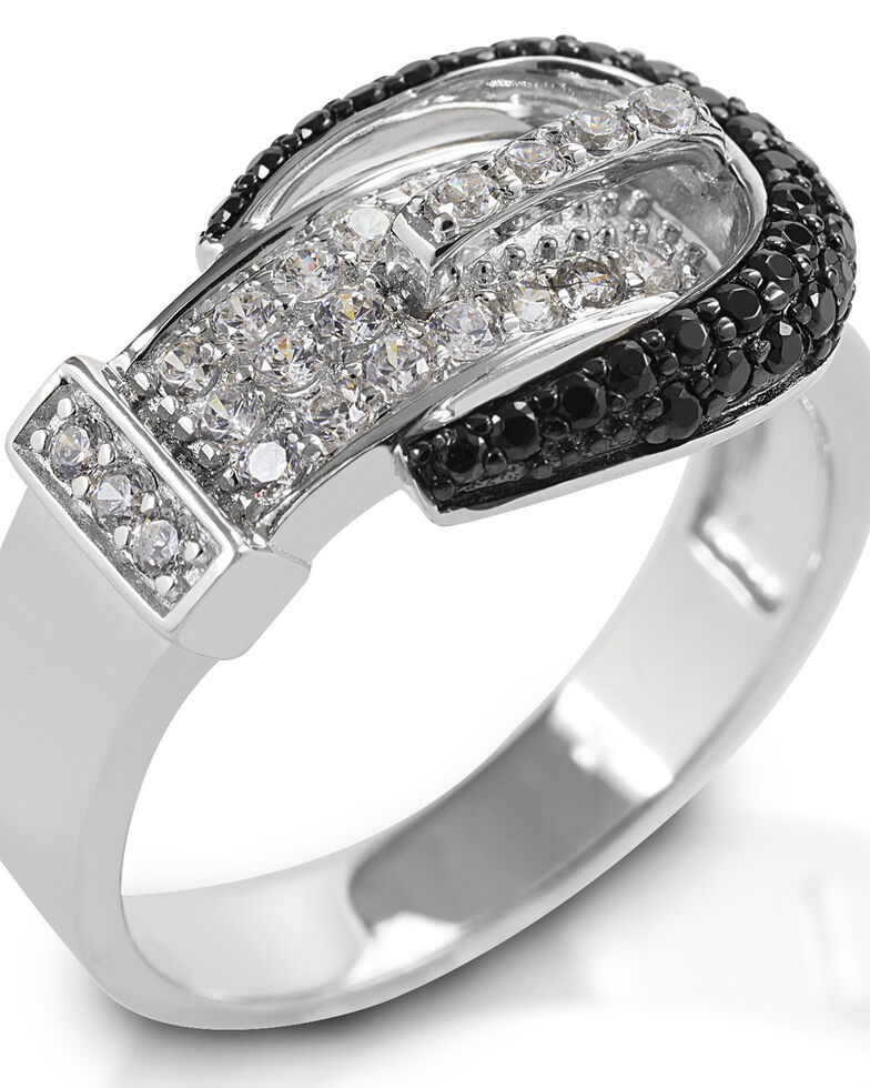 Kelly Herd Women's Black Pave Buckle Ring, Silver, hi-res