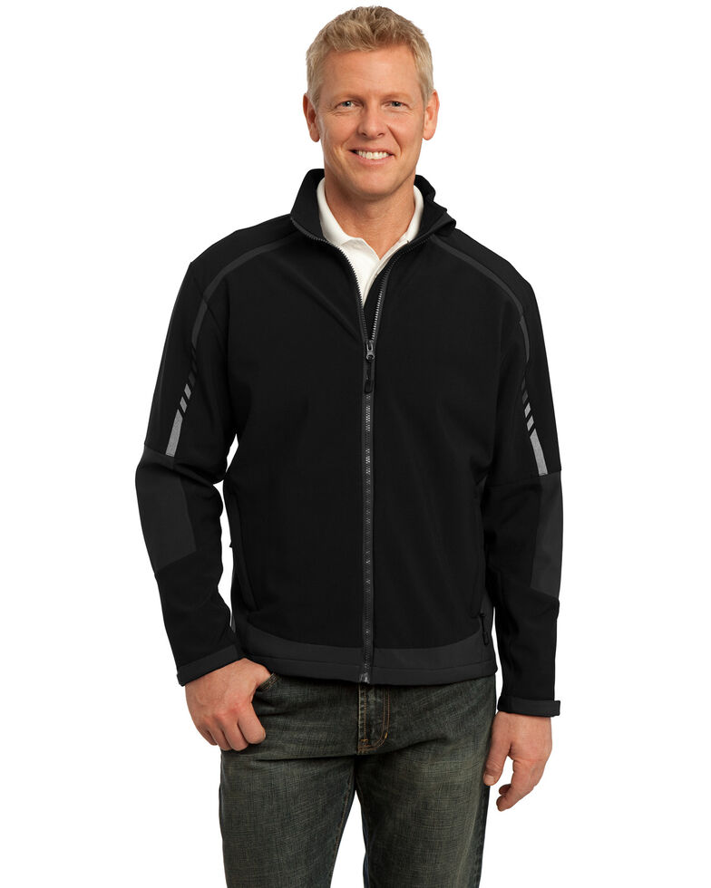 Port Authority 3X Men's Black & Deep Grey Embark Soft Shell Work Jacket - Big, Multi, hi-res