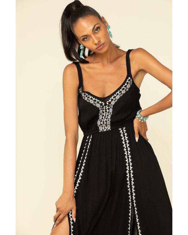 Wrangler Women's Embroidered Midi Slit Dress, Black, hi-res