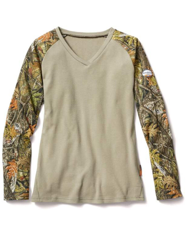 Rasco Women's Camo V-Neck Long Sleeve Work Raglan T-Shirt, Camouflage, hi-res
