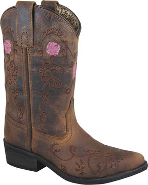 Smoky Mountain Girls' Rosette Embroidered Cowgirl Boots - Snip Toe , Brown, hi-res