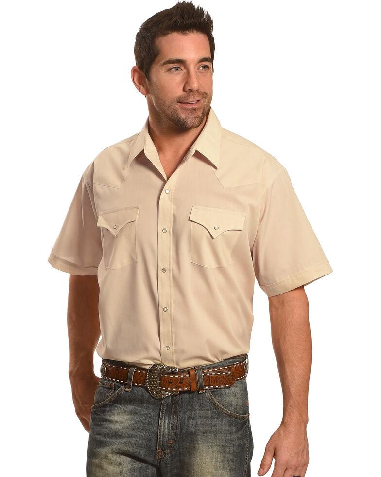 Ely Cattleman Men's Short Sleeve Solid Western Shirt, Khaki, hi-res
