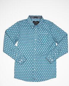 Cody James Boys' Hazard Geo Print Long Sleeve Western Shirt , Teal, hi-res