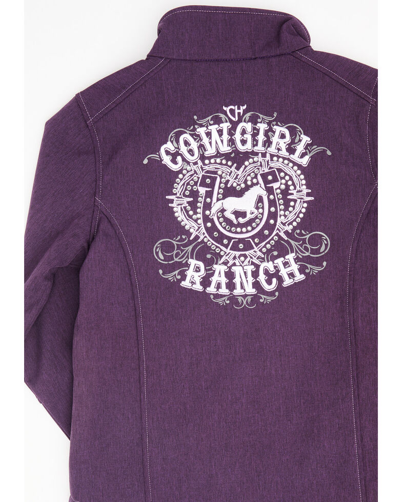 Cowgirl Hardware Girls' Purple Cowgirl Ranch Softshell Jacket , Purple, hi-res