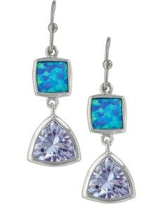 Montana Silversmiths Women's Turquoise Rhinestone Earrings, Silver, hi-res