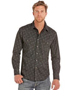 Rock & Roll Cowboy Men's Poplin Floral Print Long Sleeve Western Shirt , Charcoal, hi-res