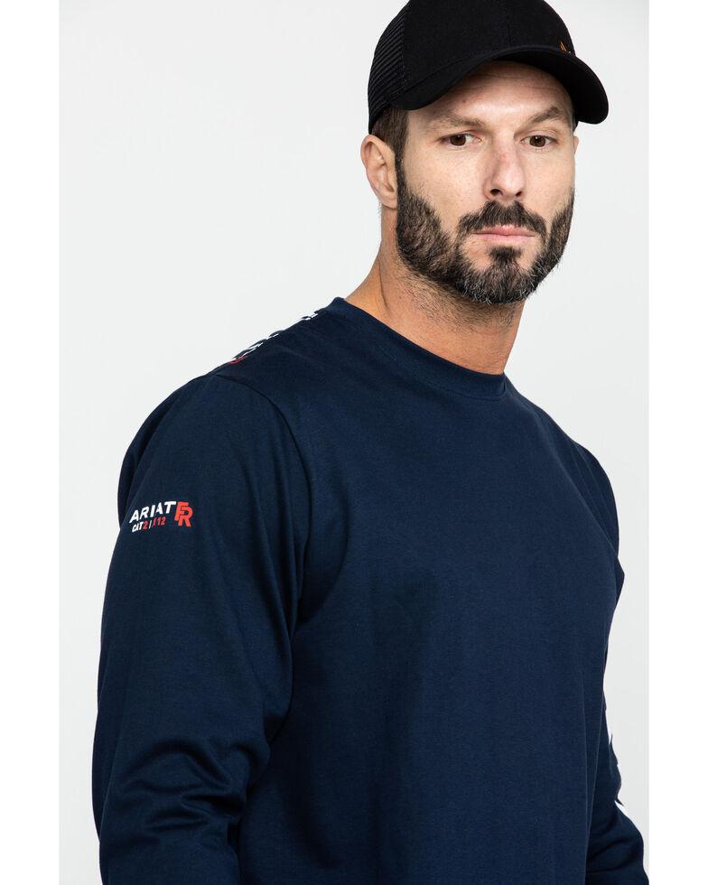 Ariat Men's FR Electric Graphic Long Sleeve Work T-Shirt , Navy, hi-res