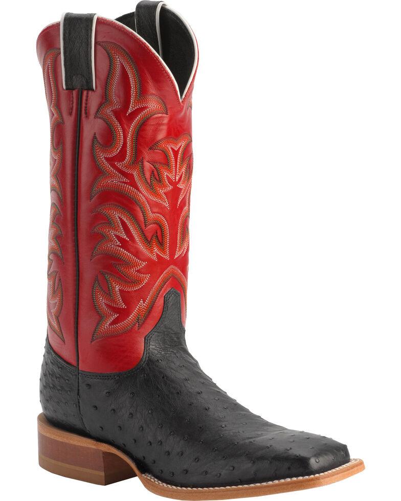 Justin Men's AQHA Remuda Full Quill Ostrich Exotic Boots, Black, hi-res