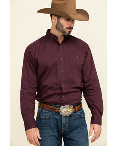 Ariat Men's Burgundy Air Flow Stretch Long Sleeve Western Shirt , Burgundy, hi-res