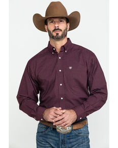 Ariat Men's Fullerton Stretch Med Plaid Long Sleeve Western Shirt - Tall , Purple, hi-res