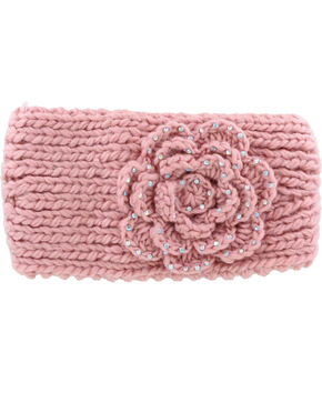 Shyanne Women's Blush Rhinestone Floral Ear Warmer, Light Pink, hi-res
