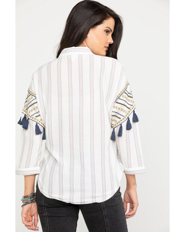 Shyanne Women's White & Red Stripe Button Down Top, White, hi-res