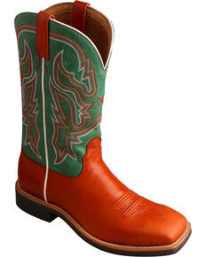 Twisted X Women's Neon Green Top Hand Cowgirl Boots - Square Toe, Cognac, hi-res