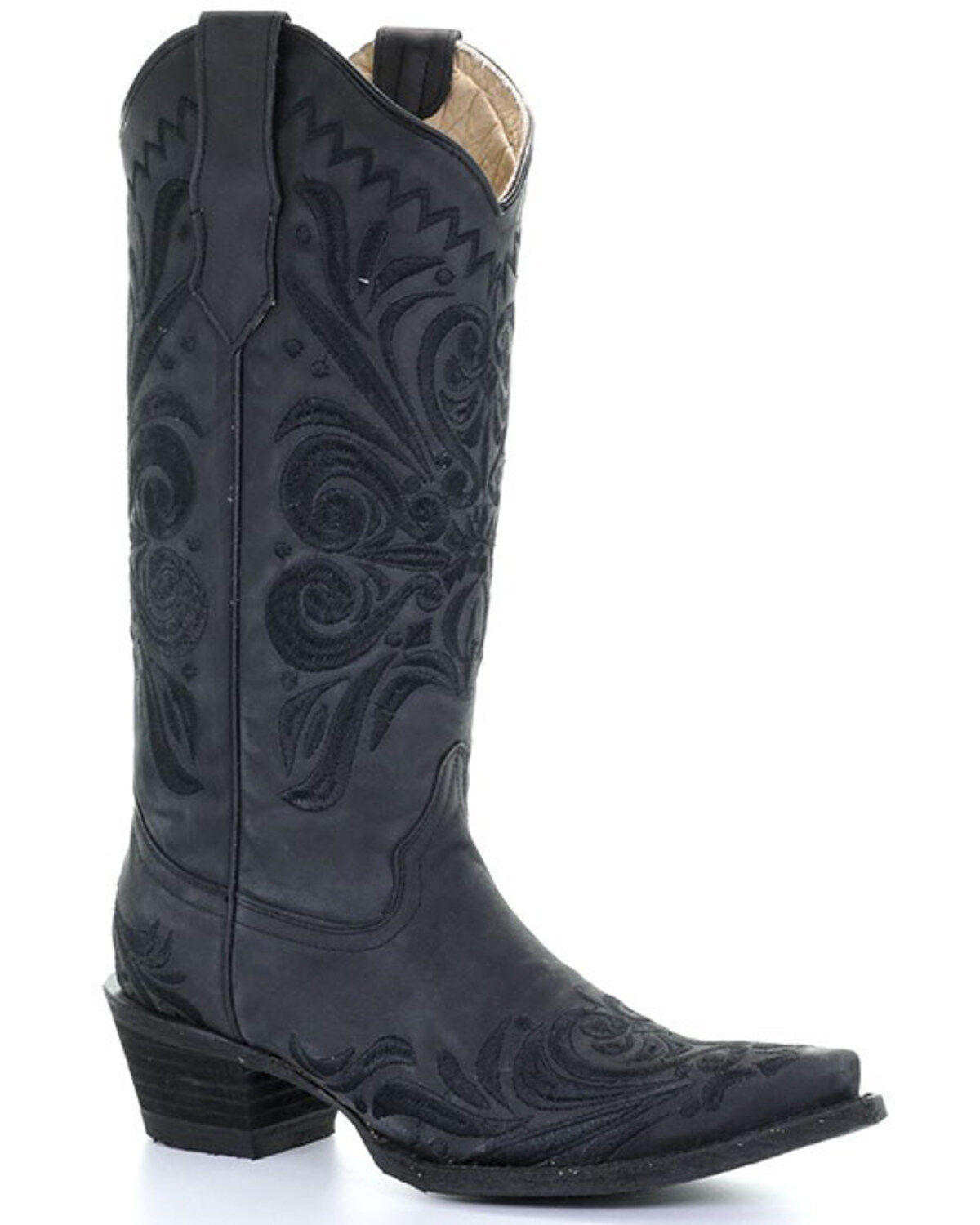 Circle G Womens Cross Embroidered Cowgirl Boot Snip Toe Antique Saddle 6 M US