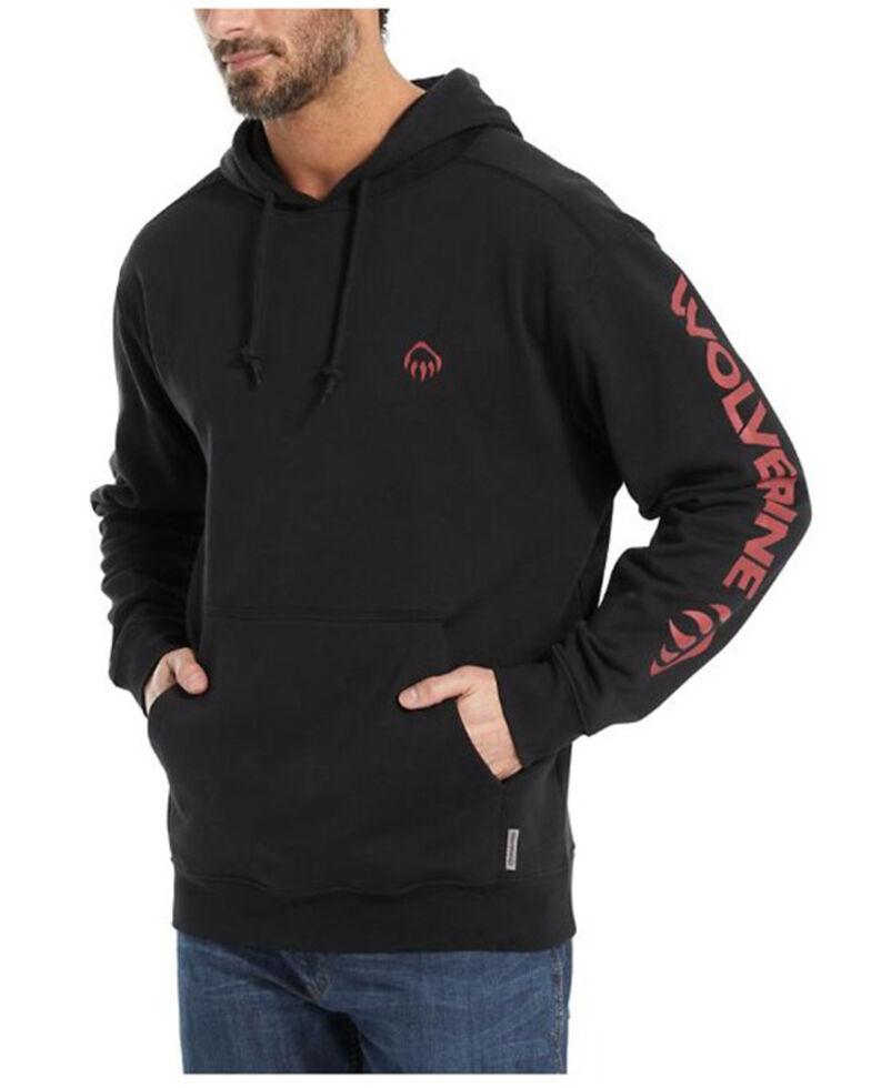 Wolverine Men's Solid Black Logo Sleeve Graphic Hooded Work Sweatshirt , Black, hi-res