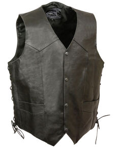 Milwaukee Leather Men's Side Lace Skull & Wings Vest - 4X, Black, hi-res