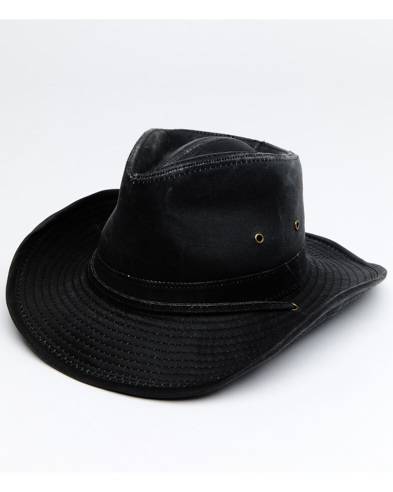 Hawx Men's Black Outback Weathered Cotton Sun Work Hat , Black, hi-res