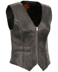Milwaukee Leather Women's Lightweight Zipper Front Braided Vest, Black, hi-res