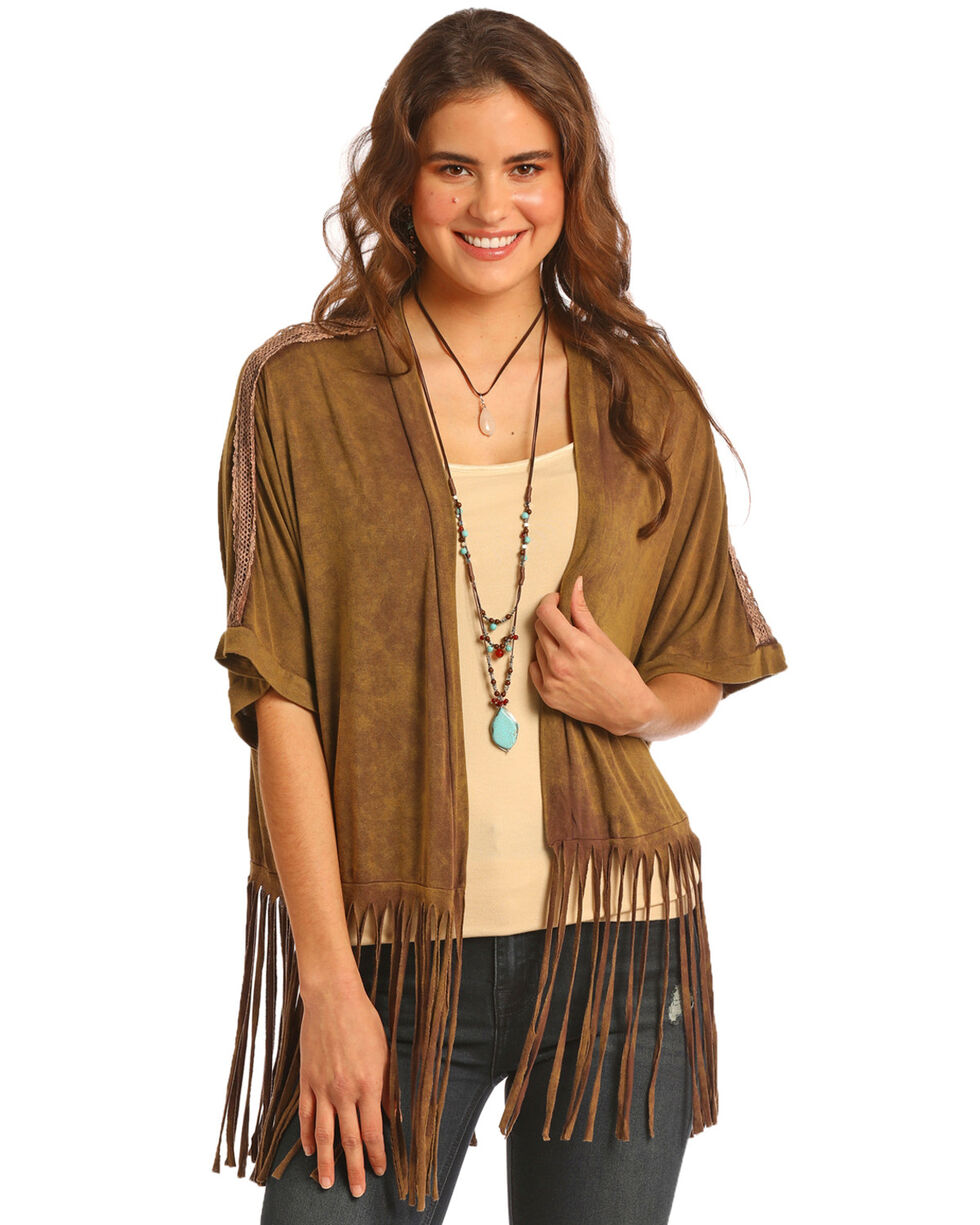 Rock & Roll Cowgirl Women's Crochet Shoulder Kimono, Brown, hi-res