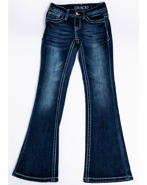 Grace In LA Girls' Embroidered Dreamcatcher Pocket Boot Jeans , Medium Blue, hi-res