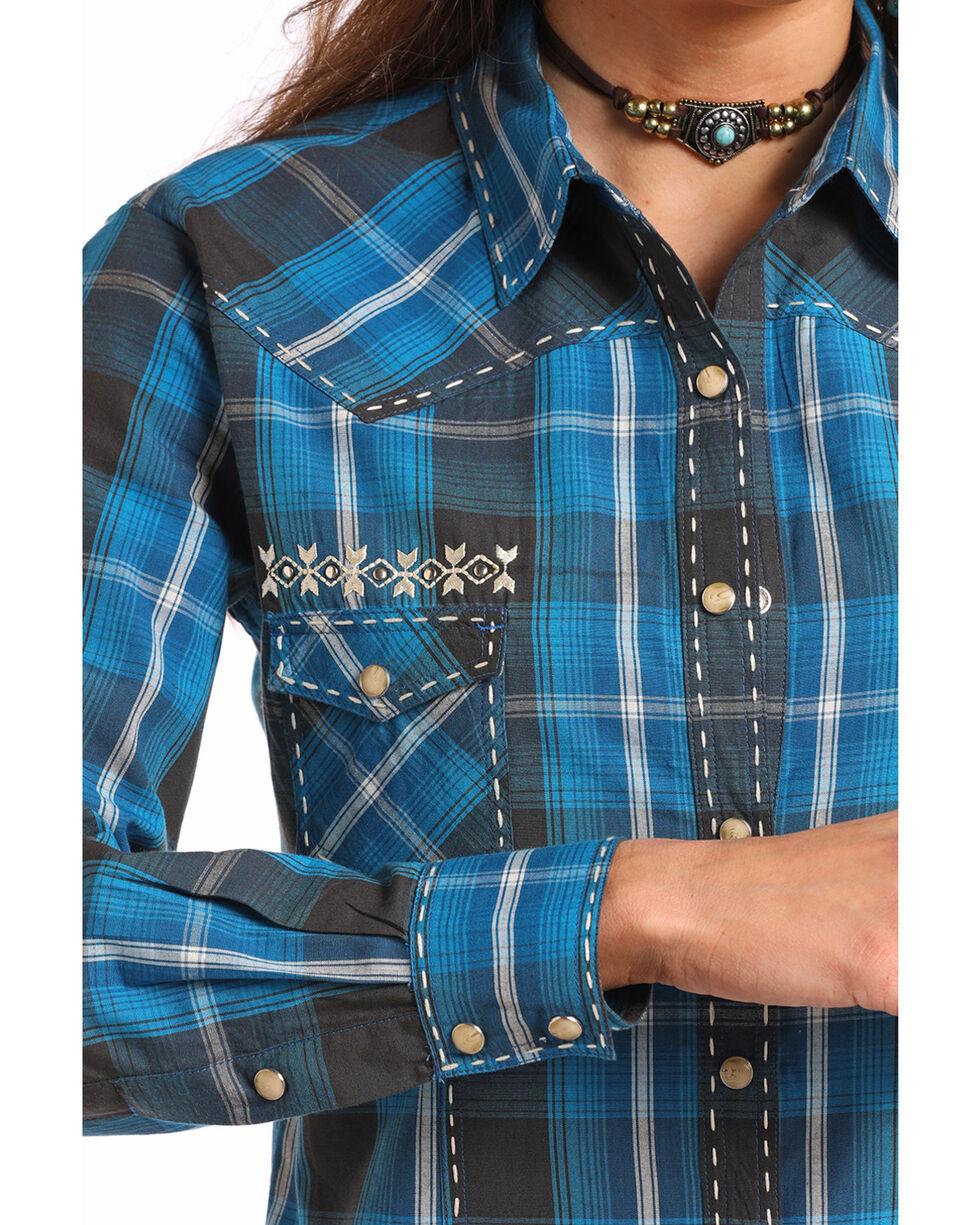 Panhandle White Label Women's Plaid Long Sleeve Western Shirt, Blue, hi-res