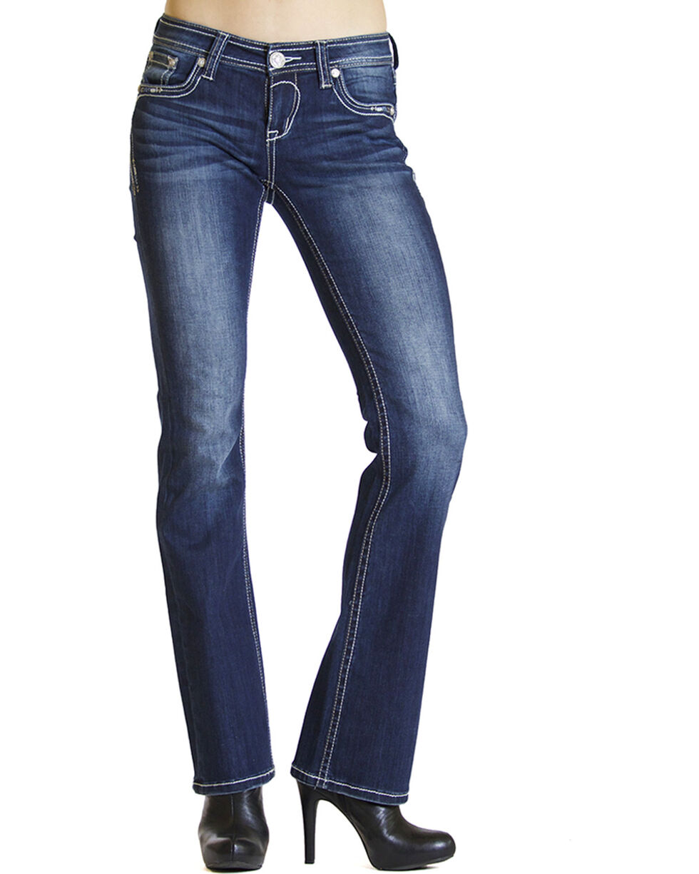 Grace in LA Dakota Dark Wash Bootcut Jeans , Indigo, hi-res