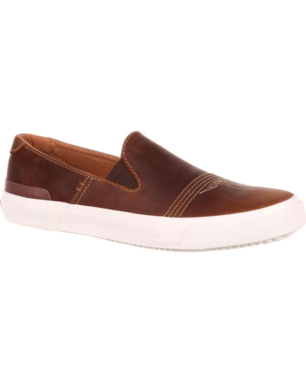 Durango Men's Music City Slip On Leather Sneakers, Brown, hi-res