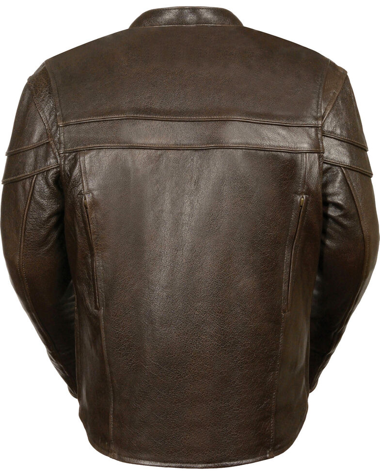 Milwaukee Leather Men's Brown Sporty Scooter Crossover Jacket - Big - 3X, Brown, hi-res