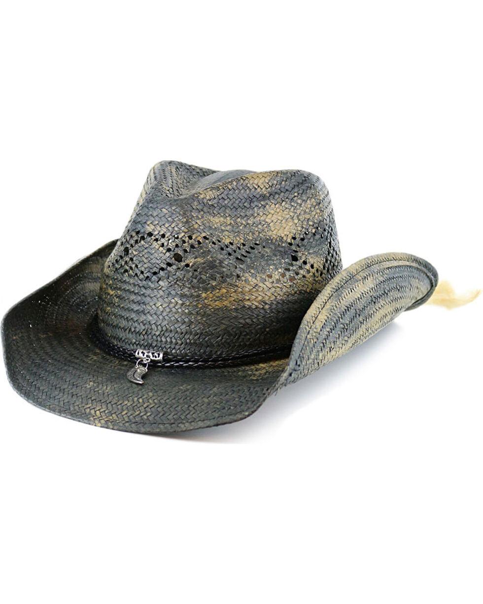 Shyanne® Women's Feather Charm Straw Hat, Blue, hi-res