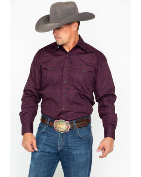 Stetson Men's Geo Print Long Sleeve Western Shirt , Wine, hi-res