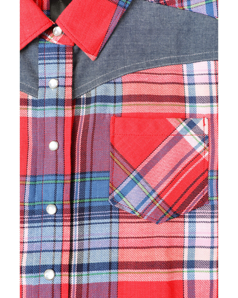 Shyanne Toddler Girls' Core Plaid Woven Long Sleeve Shirt , Red, hi-res