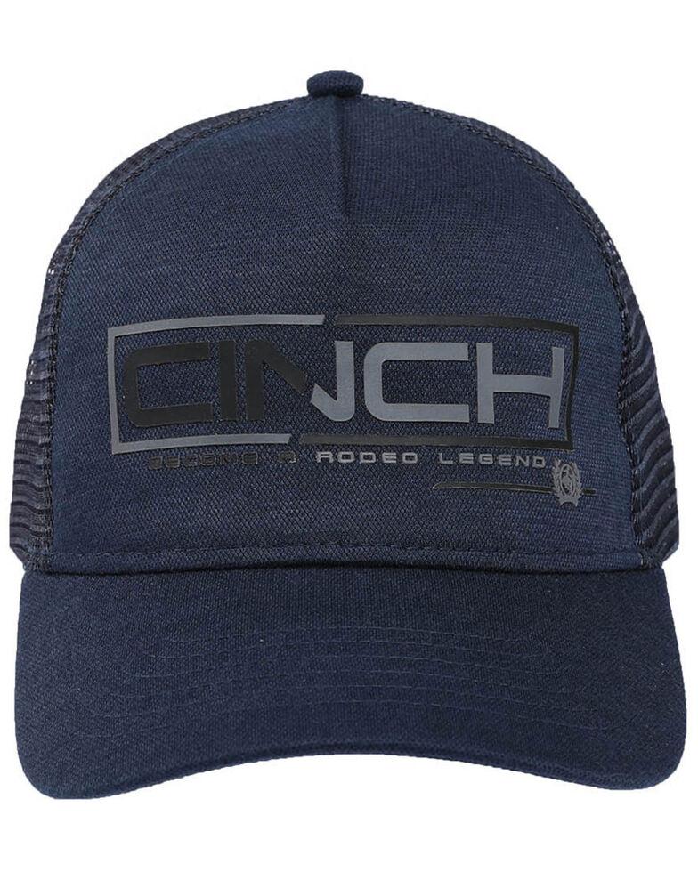 Cinch Men's Navy Raised Logo Mesh Trucker Cap , Navy, hi-res