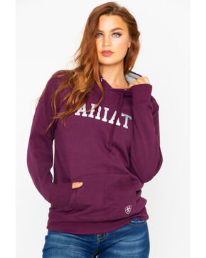 Ariat Women's Logo Heathered Hooded Sweatshirt, Wine, hi-res