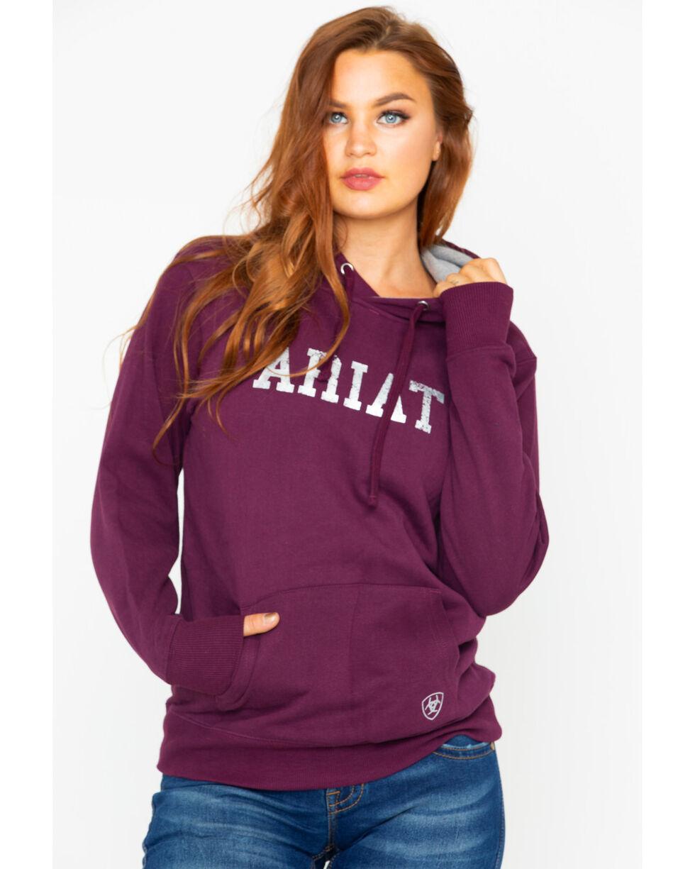 Ariat Women's Logo Heathered Hooded Sweatshirt, Wine, hi-res