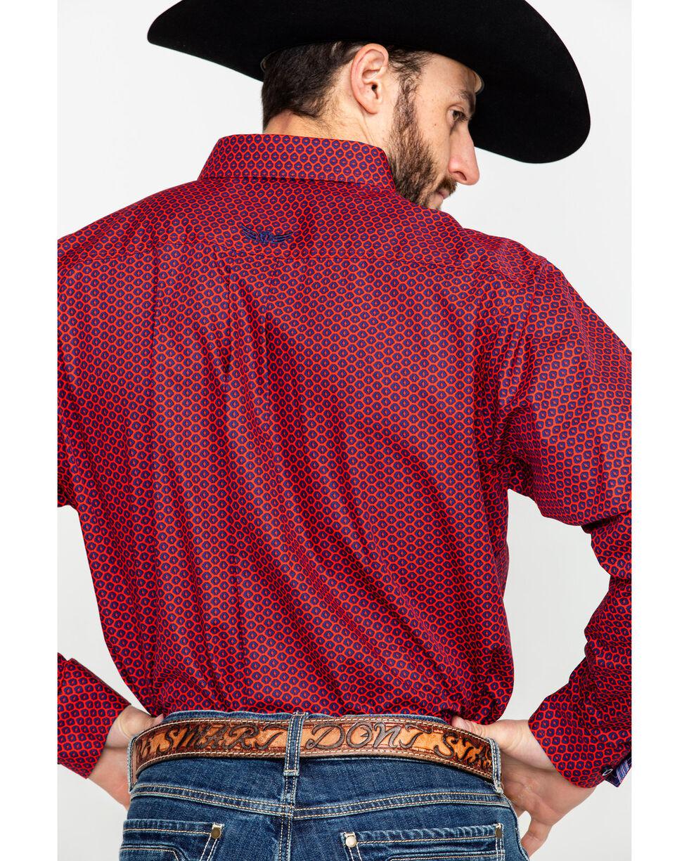 Ariat Men's Commit Geo Print Long Sleeve Western Shirt , Red, hi-res