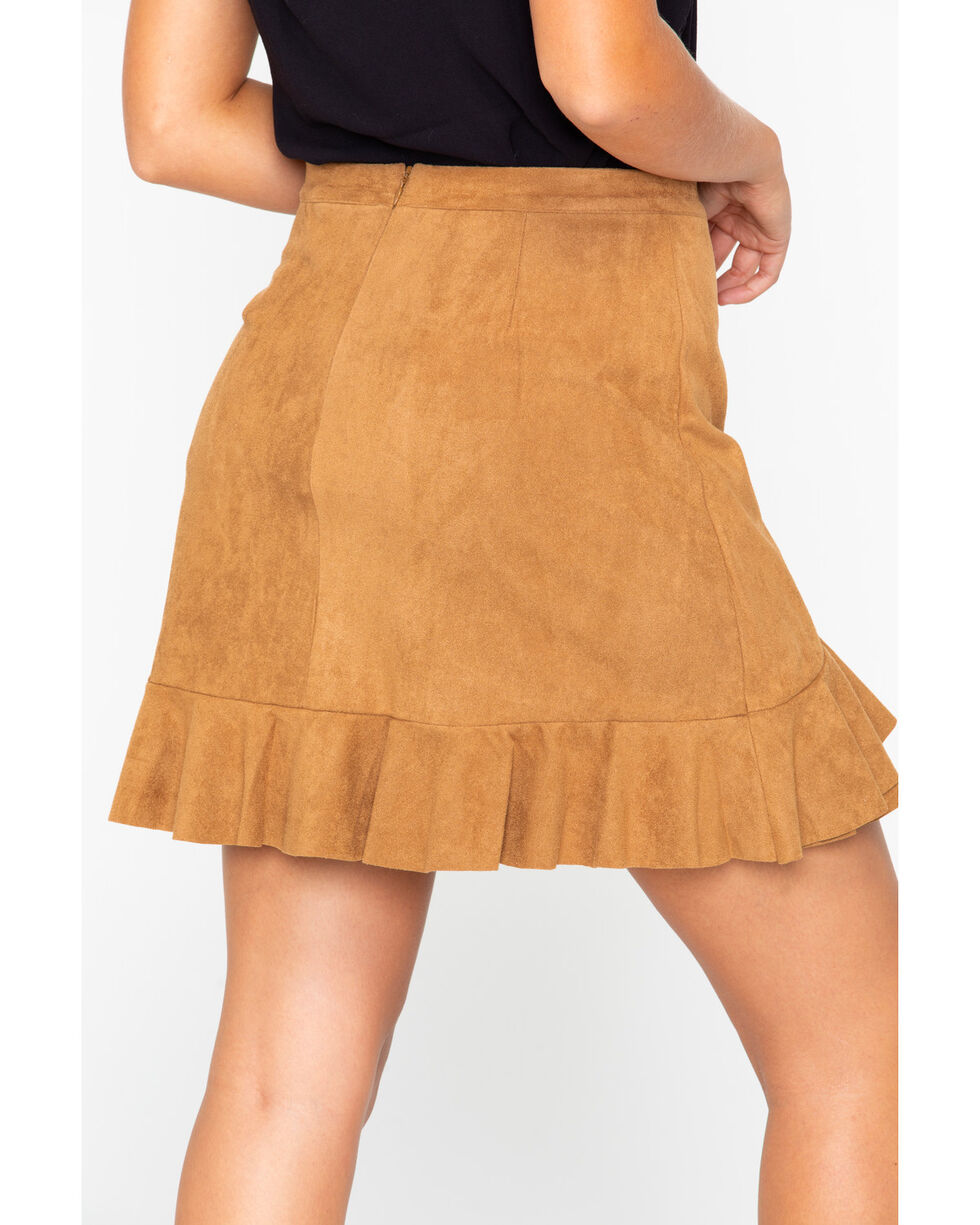 BB Dakota Women's Faux Suede Ruffle Wrap Skirt , Brown, hi-res