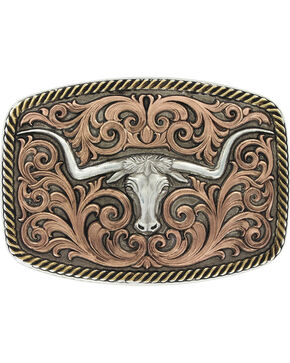 Montana Silversmiths Tri-Color Champion Texas Longhorn Buckle , Silver, hi-res