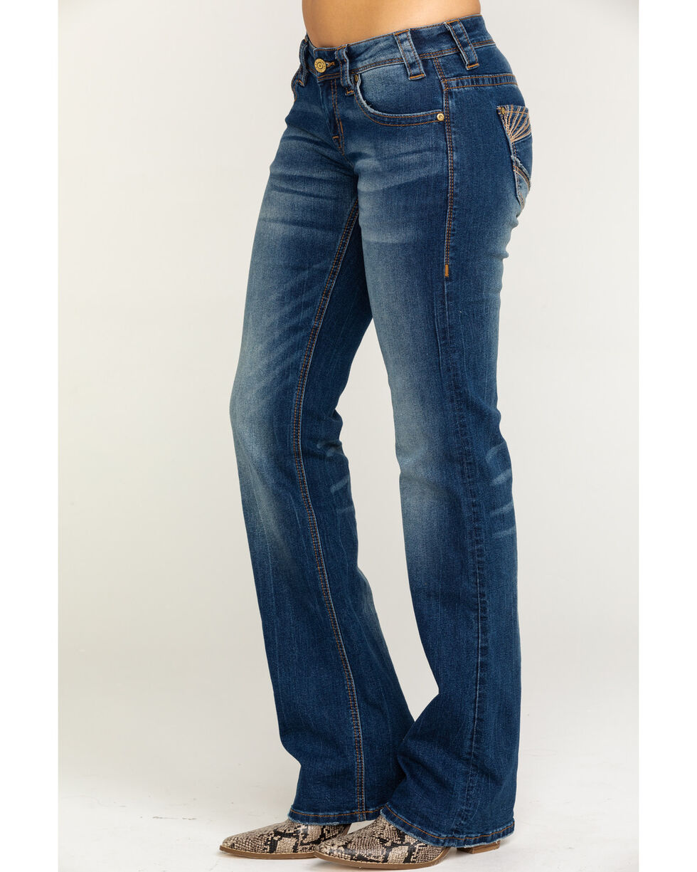 Rock & Roll Cowgirl Women's Curved Leather Embroidered Stretch Boot Jeans  , Medium Blue, hi-res