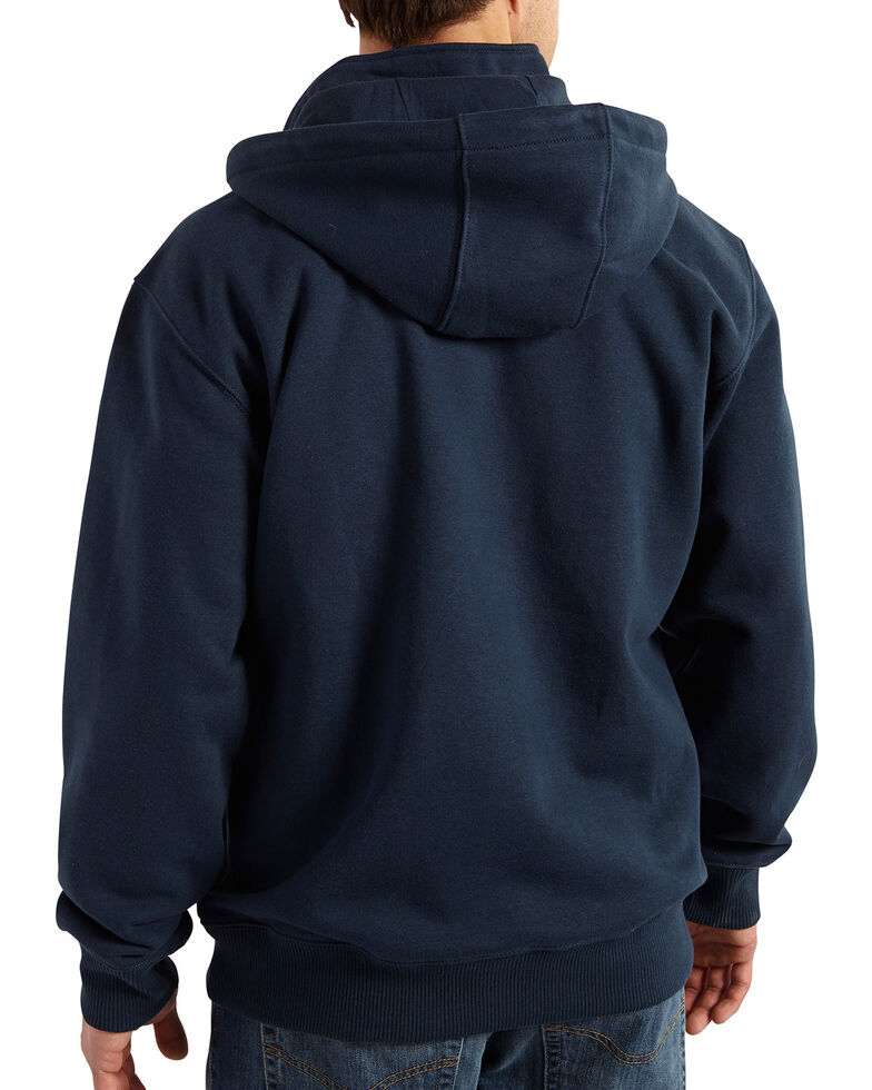 Carhartt Men's Rain Defender Paxton Hooded Zip Mock Work Sweatshirt, Navy, hi-res